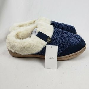 Lands' End Knit Fuzzy Clog Slippers Navy Chenille